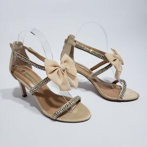 Audrey Brooke Cinderella Sandals Heels Beige